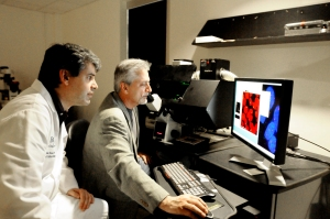 Dr. Fabio Stossi, assistant professor of molecular and cellular biology at Baylor, and Dr. Michael A. Mancini, professor and director of the Integrated Microscopy Core at Baylor.