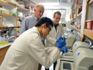From left, Bo Yuan, Dr. Pawel Stankiewicz and Ian Campbell in the lab.