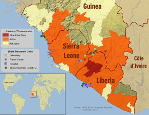 Map of current Ebola outbreak. Courtesy of the World Health Organizations