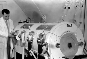 Iron lung used for polio patients. Courtesy U.S. Centers for Disease Control and Prevention