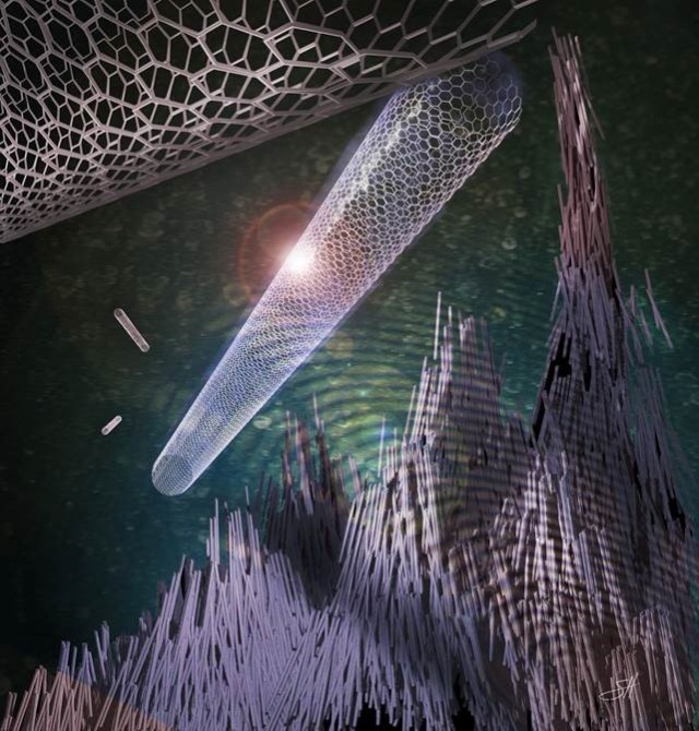 Dr. Stuart Corr of the Baylor department of surgery is working with these  single-walled carbon nanotubes that, when dispersed in an aqueous solution and  exposed to a radio frequency electric field,  start to bundle together and form 'ropes' within the solution. Further, these ropes generate heat a great deal of heat that might be used to kill targeted cancer cells.