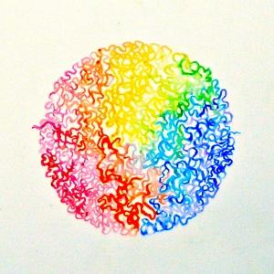 Artist's interpretation of chromatin folded up inside the nucleus. Credit: Mary Ellen Scherl