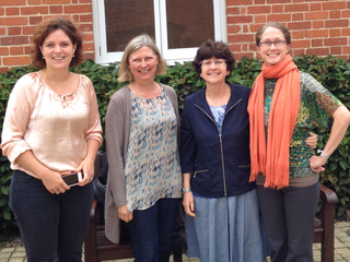 The investigators met for the first time at a meeting in the UK. From left, Saskia van der Crabben; Jo Murray; Sharon Plon; Deborah Ritter. (Courtesy of the authors)