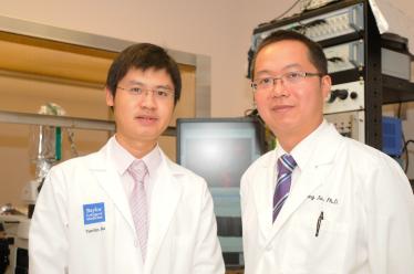 Dr. Yong Xu (R) and Dr. Yanlin He, research associate in Dr. Xu's lab.